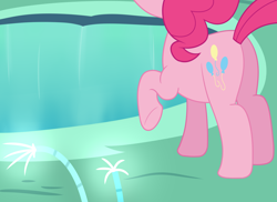 Size: 1868x1360 | Tagged: safe, artist:djdavid98, pinkie pie (mlp), earth pony, equine, fictional species, mammal, pony, friendship is magic, my little pony, butt, cave, cave pool, cutie mark, female, feral, flower, fur, hair, hooves, mirror pool (mlp), newbie artist training grounds, offscreen character, pink fur, pink hair, raised leg, simple background, solo, solo female, tail