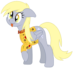 Size: 1676x1562 | Tagged: safe, artist:djdavid98, derpy hooves (mlp), equine, fictional species, mammal, pegasus, pony, friendship is magic, my little pony, cheek fluff, clothes, cross-eyed, cutie mark, female, feral, floppy ears, fluff, fur, gray fur, hair, hooves, newbie artist training grounds, polo shirt, raised leg, shirt, simple background, smiling, solo, solo female, tail, tongue out, transparent background, wings, yellow eyes, yellow hair