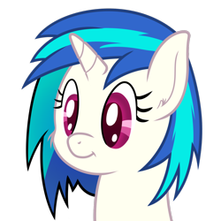 Size: 1348x1348 | Tagged: safe, artist:djdavid98, vinyl scratch (mlp), equine, fictional species, mammal, pony, unicorn, friendship is magic, my little pony, blue hair, bust, colored pupils, cute, ear fluff, female, feral, fluff, fur, hair, horn, magenta eyes, portrait, simple background, smiling, solo, solo female, transparent background, white fur