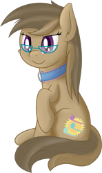 Size: 1135x1915 | Tagged: safe, artist:djdavid98, oc, oc only, oc:dawnsong, earth pony, equine, fictional species, mammal, pony, friendship is magic, my little pony, brown fur, brown hair, cheek fluff, collar, cutie mark, ear fluff, female, feral, fluff, fur, glasses, hooves, purple eyes, raised leg, shading, shading practice, simple background, sitting, smiling, soft shading, solo, solo female, tail, transparent background