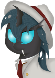 Size: 1250x1784 | Tagged: safe, artist:djdavid98, oc, oc only, oc:carbon copy, arthropod, changeling, equine, fictional species, mammal, pony, friendship is magic, my little pony, blue eyes, bust, clothes, fangs, feral, green hair, hair, hat, horn, lineless, male, necktie, shading, simple background, soft shading, solo, solo male, teeth, transparent background