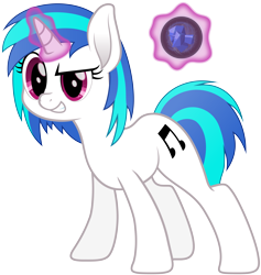 Size: 5349x5634 | Tagged: safe, artist:djdavid98, vinyl scratch (mlp), equine, fictional species, mammal, pony, unicorn, friendship is magic, my little pony, absurd resolution, blue hair, cutie mark, female, feral, fur, hair, hooves, horn, leaning forward, levitation, looking at someone, magenta eyes, magic, simple background, smiling, solo, solo female, tail, teeth, telekinesis, transparent background, vector, white fur