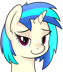 Size: 1444x1666 | Tagged: safe, artist:djdavid98, vinyl scratch (mlp), equine, fictional species, mammal, pony, unicorn, friendship is magic, my little pony, bedroom eyes, blue hair, bust, cheek fluff, ear fluff, female, feral, fluff, fur, hair, horn, looking at you, magenta eyes, portrait, shading, simple background, smiling, soft shading, solo, solo female, transparent background, white fur