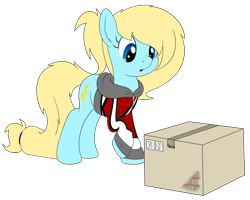 Size: 3500x2800 | Tagged: safe, artist:djdavid98, oc, oc only, oc:honey wound, earth pony, equine, fictional species, mammal, pony, friendship is magic, my little pony, blue eyes, blue fur, box, clothes, cutaway, cutie mark, female, feral, fur, hair, hooves, internal view, looking at something, looking down, raised leg, simple background, solo, solo female, tail, text, transparent background, x-ray, yellow hair