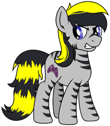 Size: 1500x1713 | Tagged: safe, artist:djdavid98, oc, oc only, oc:sly (gameponysly), earth pony, equine, fictional species, mammal, pony, friendship is magic, my little pony, black hair, blue eyes, cutie mark, ear fluff, feral, fluff, fur, gray fur, grinning, hair, hooves, looking back, male, signature, simple background, solo, solo male, tail, teeth, transparent background, yellow hair