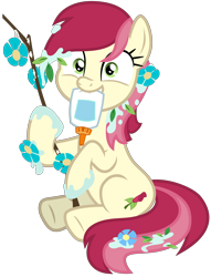 Size: 5000x6535 | Tagged: safe, artist:djdavid98, roseluck (mlp), earth pony, equine, fictional species, mammal, pony, friendship is magic, my little pony, .svg available, cute, cutie mark, female, feral, flower, flower in hair, fur, glue, green eyes, hair, holding, hooves, looking at you, messy, mouth hold, red hair, simple background, sitting, smiling, solo, solo female, stick, tail, transparent background, underhoof, vector, yellow fur