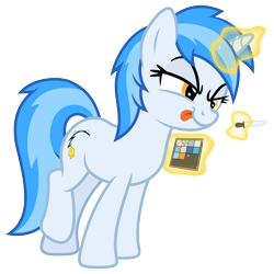 Size: 7000x7000 | Tagged: safe, artist:djdavid98, artist:pirill, oc, oc only, oc:penny curve, equine, fictional species, mammal, pony, unicorn, friendship is magic, my little pony, absurd resolution, blue fur, blue hair, collaboration, concentrating, cutie mark, eyedropper, female, feral, fur, hair, hooves, horn, leaning forward, magic, mischievous, raised leg, simple background, solo, solo female, tail, telekinesis, tongue out, transparent background, vector, yellow eyes