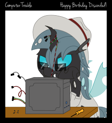 Size: 2100x2300 | Tagged: safe, artist:djdavid98, oc, oc only, oc:carbon copy, arthropod, changeling, equine, fictional species, mammal, pony, friendship is magic, my little pony, birthday gift, blue eyes, border, cable, clothes, colored lineart, computer, feral, glasses, green hair, hat, hooves, horn, male, screwdriver, screws, simple background, solo, solo male, table, tail, text, transparent background, wings