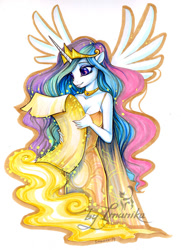 Size: 532x736 | Tagged: safe, artist:imanika, princess celestia (mlp), alicorn, equine, fictional species, mammal, pony, friendship is magic, my little pony, anthro, celestia (mlp), choker, clothes, dress, feathered wings, feathers, female, magic, purple eyes, scroll, smiling, solo, solo female, spread wings, traditional art, wings