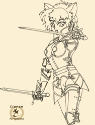 Size: 600x793 | Tagged: safe, artist:ciaran, catgirl, fictional species, kemonomimi, armor, cat ears, cat kemonomimi, dagger, female, humanoid, line art, looking at you, parrying dagger, plate armor, pointing at you, simple background, smiling, solo, solo female, sword