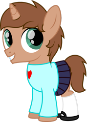 Size: 755x1058 | Tagged: safe, artist:peternators, oc, oc only, equine, fictional species, mammal, pony, unicorn, my little pony, clothes, colt, crossdressing, mary janes, simple background, skirt, socks, solo, sweater, transparent background, young
