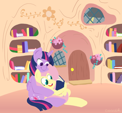 Size: 890x823 | Tagged: safe, artist:frogandcog, fluttershy (mlp), twilight sparkle (mlp), alicorn, equine, fictional species, mammal, pegasus, pony, friendship is magic, my little pony, book, commission, door, duo, duo female, feathered wings, feathers, female, feral, folded wings, horn, library, mare, reading, sitting, smiling, tail, twilight sparkle (alicorn), wings