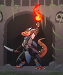 Size: 1072x1280 | Tagged: safe, artist:kingadee, oc, oc:kezet (kezet), fictional species, kobold, reptile, anthro, clothes, fire, sheath (weapon), sword, weapon