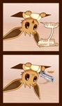 Size: 629x1060 | Tagged: safe, artist:r-mk, eevee, fictional species, nintendo, pokémon, :3, ambiguous gender, blushing, ceiling cat, eeveelution, feral, gun, holding, meme, onomatopoeia, paw hold, paws, pistol, smiling, text, vulgar, weapon