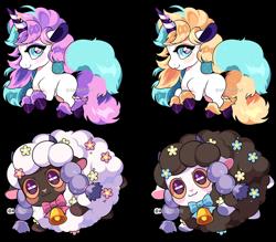 Size: 1024x897 | Tagged: safe, artist:queenashi, equine, fictional species, galarian ponyta, mammal, pony, ponyta, sheep, unicorn, wooloo, nintendo, pokémon, amber eyes, ambiguous gender, blue eyes, blushing, feral, fluff, group, hooves, horn, shiny pokémon, signature, simple background, tail, transparent background, watermark