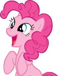Size: 3835x4988 | Tagged: safe, artist:wcctnoam, pinkie pie (mlp), earth pony, equine, fictional species, mammal, pony, friendship is magic, my little pony, absurd resolution, female, feral, happy, manebooru exclusive, mare, open mouth, simple background, solo, solo female, tail, transparent background, vector