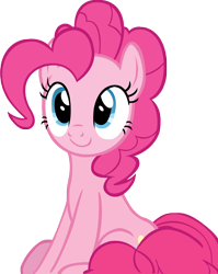 Size: 3982x5000 | Tagged: safe, artist:wcctnoam, pinkie pie (mlp), earth pony, equine, fictional species, mammal, pony, friendship is magic, my little pony, absurd resolution, coiled tail, cute, female, feral, manebooru exclusive, mare, simple background, sitting, smiling, solo, solo female, tail, transparent background, vector