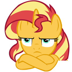 Size: 4000x4000 | Tagged: safe, artist:wcctnoam, sunset shimmer (mlp), equine, fictional species, mammal, pony, unicorn, friendship is magic, my little pony, absurd resolution, annoyed, crossed arms, female, feral, horn, manebooru exclusive, mare, simple background, solo, solo female, transparent background, vector