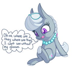 Size: 941x849 | Tagged: dead source, safe, artist:handsockz, silver spoon (mlp), earth pony, equine, fictional species, mammal, pony, friendship is magic, my little pony, dialogue, female, feral, filly, jewelry, necklace, simple background, sitting, solo, solo female, speech bubble, tail, transparent background