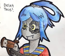 Size: 1940x1675 | Tagged: safe, artist:melisareb, oc, oc only, oc:antonette antimony, fictional species, kobold, reptile, series:the periodic lives, bust, cute, delet this, fangs, female, gun, humanoid, meme, ocbetes, sharp teeth, solo, solo female, teeth, traditional art, weapon