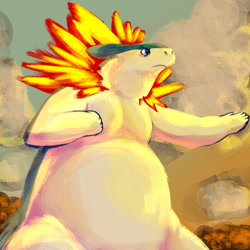 Size: 1280x1280 | Tagged: safe, artist:unclear, fictional species, mammal, mustelid, typhlosion, nintendo, pokémon, fire, semi-anthro, solo