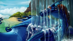 Size: 1280x731 | Tagged: safe, artist:erganyfoxy, oc, oc:ergany (erganyfoxy), dragon, fictional species, reptile, scaled dragon, bust, feral, portrait, water, waterfall, webbed wings, wings