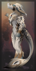 Size: 500x979 | Tagged: safe, artist:colorfulhoovednights, fictional species, mammal, vernid, anthro, blue eyes, chest fluff, colored pupils, ear fluff, ears, fluff, hair, head fluff, leg fluff, looking at something, side view, slit pupils, solo, standing, tail, tail fluff