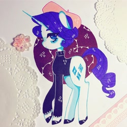 Size: 1280x1280 | Tagged: safe, artist:dollbunnie, rarity (mlp), equine, fictional species, mammal, pony, unicorn, friendship is magic, my little pony, beret, blue eyes, cutie mark, female, feral, solo, solo female, sparkles, traditional art, turtleneck