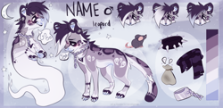 Size: 2298x1110 | Tagged: safe, artist:localtanuki, oc, oc only, big cat, feline, fictional species, ghost, leopard, mammal, mouse, rodent, undead, zombie, bone, chain, claws, clothes, collar, ear piercing, eyebrow piercing, fangs, feral, fur, gray fur, gray tongue, hair, jewelry, male, moon, open mouth, paw pads, paws, piercing, purple fur, reference sheet, scarf, solo, solo male, speech bubble, spiked collar, spots, tail, teeth