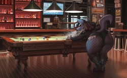 Size: 2048x1260 | Tagged: safe, artist:p4t4c0n, fictional species, lucario, nintendo, pokémon, alcohol, bar, big butt, boots, butt, cigarette, clothes, drink, female, fishnet, fishnet stockings, jacket, leather jacket, legwear, pool table, see-through, shoes, short shorts, smoking, solo, solo female, stockings, television