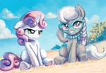 Size: 1900x1300 | Tagged: safe, artist:kp-shadowsquirrel, silver spoon (mlp), sweetie belle (mlp), earth pony, equine, fictional species, mammal, pony, unicorn, friendship is magic, my little pony, beach, cloud, duo, duo female, female, feral, filly, foal, glasses, horn, jewelry, necklace, pearl necklace, sand, sitting, sky, smiling, tail, young