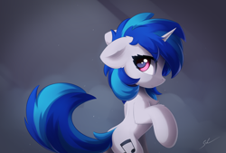Size: 4000x2700 | Tagged: safe, artist:ifmsoul, vinyl scratch (mlp), equine, fictional species, mammal, pony, unicorn, friendship is magic, my little pony, blue hair, chest fluff, ear fluff, female, feral, fluff, fur, hair, looking at you, looking back, magenta eyes, mare, side view, simple background, solo, solo female, tail, tail fluff, white fur