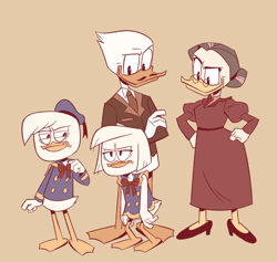 Size: 1280x1215 | Tagged: safe, artist:mebsann, della duck (disney), donald duck (disney), hortense mcduck (disney), quackmore duck (disney), bird, duck, disney, ducktales, anthro, brother, brother and sister, family, female, male, parents, siblings, sister