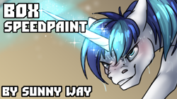Size: 1280x720 | Tagged: safe, artist:sunny way, shining armor (mlp), equine, fictional species, mammal, pony, unicorn, my little pony, artwork, box, cute, digital art, fanart, feral, magic, male, patreon reward, sexy, solo, solo male, speed paint, stallion, strong, sweat, video, wet