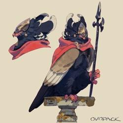 Size: 1280x1278 | Tagged: safe, artist:ovopack, oc, bird, bird of prey, eagle, feral, ambiguous gender, armor, halberd, solo