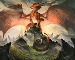 Size: 1176x945   Tagged: safe, artist:alectorfencer, dragon, fictional species, reptile, western dragon, ambiguous gender, anthro, claws, cloudy, horns, landscape, macro, majestic, mountain, scenery, solo, solo ambiguous, tail, webbed wings, wings