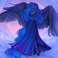 Size: 1200x1200   Tagged: safe, artist:margony, artist:margony7, princess luna (mlp), alicorn, equine, fictional species, mammal, pony, friendship is magic, my little pony, anthro, breasts, cleavage, clothes, cloud, dress, feathered wings, feathers, female, high heels, hooves, horn, mare, shoes, solo, solo female, spread wings, tail, unguligrade anthro, wings