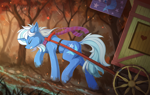 Size: 2300x1450 | Tagged: safe, artist:yakovlev-vad, trixie (mlp), equine, fictional species, mammal, pony, unicorn, friendship is magic, my little pony, autumn, clothes, female, feral, scarf, scenery, scenery porn, solo, solo female, tree, wagon, walking