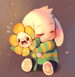 Size: 1221x1245   Tagged: safe, artist:royalnoir, asriel dreemurr (undertale), animate plant, fictional species, goat, mammal, undertale, anthro, blushing, clothes, cute, duo, duo male, flower, flowey (undertale), gray background, hug, male, obtrusive watermark, paw pads, paws, self paradox, simple background, sweater, tsundere, watermark, young