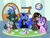 Size: 1300x1000 | Tagged: safe, artist:enigmasart, cozy glow (mlp), king sombra (mlp), nightmare moon (mlp), queen chrysalis (mlp), starlight glimmer (mlp), trixie (mlp), alicorn, arthropod, changeling, equine, fictional species, mammal, pegasus, pony, unicorn, friendship is magic, my little pony, my little pony: pony life, blue eyes, cupcake, dart, dartboard, drink, feral, food, green eyes, implied discord, purple eyes, red eyes, tea, teal eyes