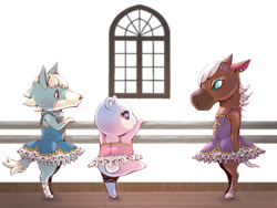 Size: 1112x834 | Tagged: safe, artist:アオっぽい。, judy (animal crossing), reneigh (animal crossing), skye (animal crossing), bear, canine, equine, horse, mammal, wolf, anthro, animal crossing, nintendo, arm hooves, ballerina, ballet, ballet slippers, clothes, dress, ear piercing, female, group, hooves, looking at each other, mare, piercing, starry eyes, tail, trio, trio female, tutu, window