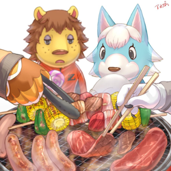 Size: 1000x1000 | Tagged: safe, artist:アオっぽい。, buzz (animal crossing), fang (animal crossing), rex (animal crossing), skye (animal crossing), big cat, bird, bird of prey, canine, eagle, feline, lion, mammal, wolf, anthro, animal crossing, nintendo, arm wings, barbeque, chopsticks, claws, clothes, corn, female, food, freckles, green pepper, holding object, hot dog, hungry, lidded eyes, lollipop, male, meat, offscreen character, open mouth, out of focus, peppers, shirt, shishkebab, signature, simple background, tongs, topwear, white background