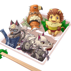 Size: 1000x1000 | Tagged: safe, artist:アオっぽい。, buzz (animal crossing), fang (animal crossing), raymond (animal crossing), rex (animal crossing), roscoe (animal crossing), big cat, bird, bird of prey, canine, cat, eagle, equine, feline, horse, lion, mammal, wolf, anthro, plantigrade anthro, unguligrade anthro, animal crossing, nintendo, angry, bag, bento, book, bottomless, chopsticks, clothes, ear fluff, eating, eyes closed, fangs, feathers, fluff, food, freckles, frowning, fruit, glasses, group, heterochromia, holding food, hooves, jacket, lemon, lidded eyes, looking back, lying down, male, males only, nudity, on back, partial nudity, prone, reading, sharp teeth, shirt, sitting, stallion, tail, tail feathers, teeth, topwear