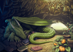Size: 1280x905 | Tagged: safe, artist:vader-san, oc, oc only, oc:kulze, dragon, fictional species, reptile, feral, 2016, book, books, cave, claws, commission, dragonfruit, green scales, hoard, horns, male, plants, pumpkin, scales, scenery, sleeping, solo, solo male, tail, tomato, webbed wings, wings