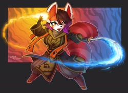 Size: 2182x1600 | Tagged: safe, artist:wmdiscovery93, mammal, red panda, anthro, female, fire, ice, mage, scimitar, solo, solo female, sword, weapon