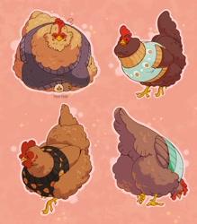 Size: 2034x2324 | Tagged: safe, artist:ewalus, oc, oc only, bird, chicken, galliform, feral, ambiguous gender, clothes, pink background, simple background