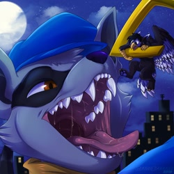 Size: 1280x1280 | Tagged: suggestive, artist:corriezodori, sly cooper (sly cooper), bird, feline, fictional species, gryphon, mammal, procyonid, raccoon, anthro, feral, sly cooper (series), bust, clothes, duo, fangs, hat, imminent vore, macro, mawshot, open mouth, saliva, sharp teeth, teeth