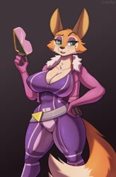 Size: 841x1280   Tagged: safe, artist:cooliehigh, meika (rimba racer), canine, fox, mammal, anthro, rimba racer, big breasts, breasts, cleavage, female, solo, solo female, tail, vixen