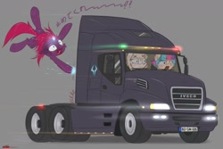 Size: 1280x853 | Tagged: safe, artist:sparkle7479, tempest shadow (mlp), oc, equine, fictional species, mammal, pony, unicorn, feral, friendship is magic, hasbro, my little pony, broken horn, female, females only, horn, japanese text, truck, vehicle, wat, wide eyes