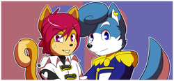 Size: 1255x580 | Tagged: safe, artist:munks, oc, oc only, canine, cat, dog, feline, mammal, anthro, blue eyes, clothes, duo, duo male, looking at you, male, males only, purple eyes, smiling, topwear, uniform